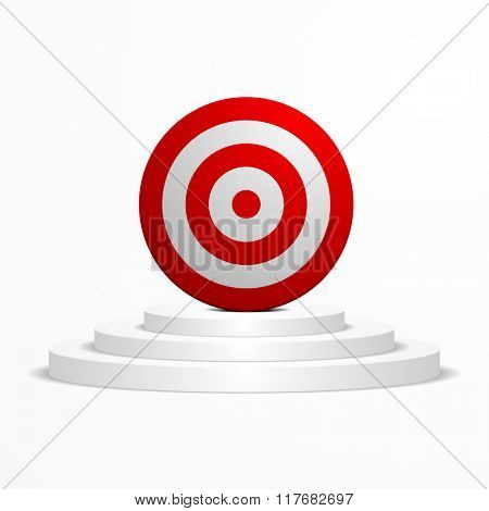 illustration of a target placed on top of a white podium, eps10 vector