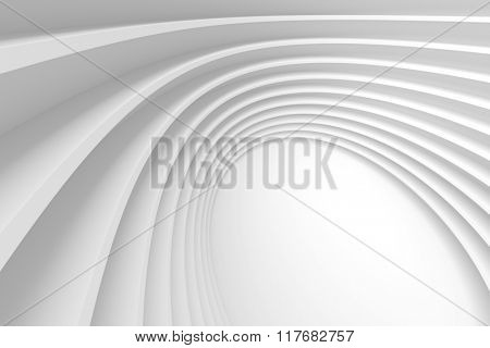 3d Abstract Architecture Background. White Circular Building