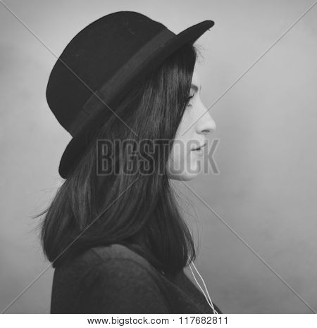 Profile Portrait Lady Wearing Hat Concept