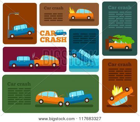 Car Crash Vector Set. Insurance Cases Car Crash