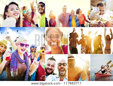 Collage Diverse Faces Summer Beach People Concept