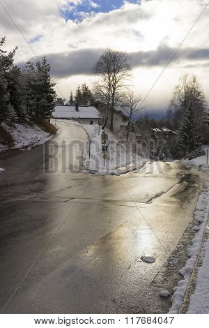 Slippery Dangerous Road In Icy Conditions
