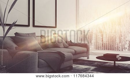 Beam of sunlight lighting up a comfortable living room interior with upholstered armchairs and blank picture frames on the wall. 3d rendering