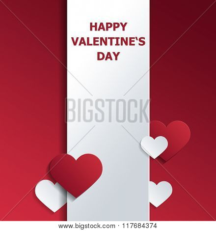 Valentine Greeting Card Graphic - Warm Greeting Printed in Red on Vertical Banner and Surrounded by Red and White Paper Cut Out Hearts of Various Sizes on Red Background with Copy Space. 3d Rendering