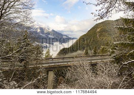 Viaduct Through Alpine Scenery