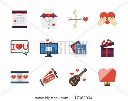 Love relationships flat icons vector collection