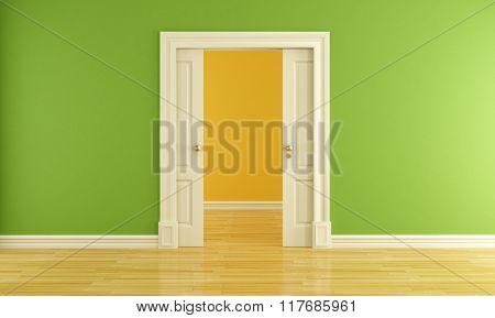 Empty Room With Sliding Door