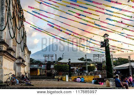 Festive Church & Volcano At Sunset Near Antigua, Guatemala