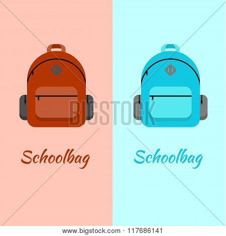 Schoolbag Flat Illustration. Bag For School