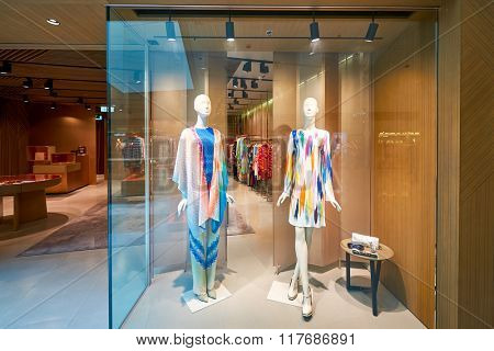 HONG KONG - JANUARY 26, 2016: shopwindow of Missoni store at Elements Shopping Mall. Elements is a large shopping mall located on 1 Austin Road West, Tsim Sha Tsui, Kowloon, Hong Kong