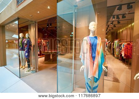 HONG KONG - JANUARY 26, 2016: entryway of Missoni store at Elements Shopping Mall. Elements is a large shopping mall located on 1 Austin Road West, Tsim Sha Tsui, Kowloon, Hong Kong