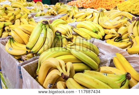 Fresh Bananas Ready For Sale In The Supermarket Magnit