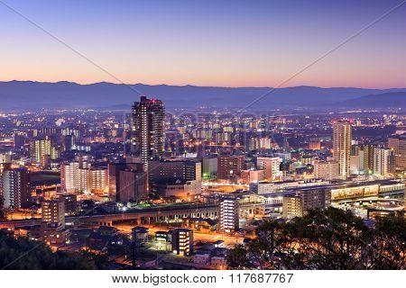 Kumamoto, Japan downtown skyline.