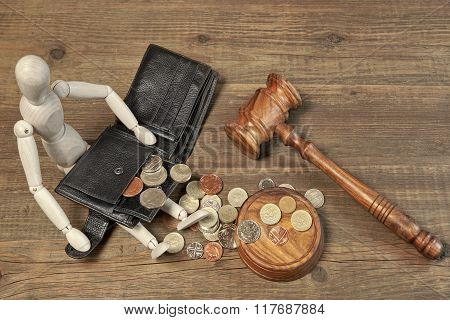 Wood Humane Figurine, Black Wallet With British Coins And Gavel