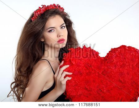 Beautiful Brunette Girl With Red Heart Gift For Valentines Day. Beauty Portrait Of Young Woman With