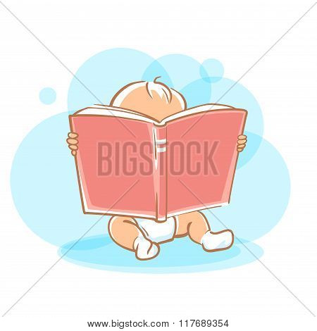 Cute little baby reading book.
