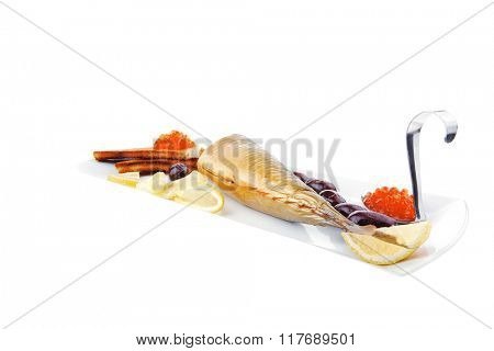smoked herring and red caviar on toast