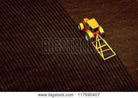 Tractor Plowed Empty Field
