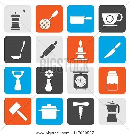 Flat Kitchen and household tools icons