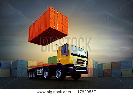 Container Loading On Truck In Dock