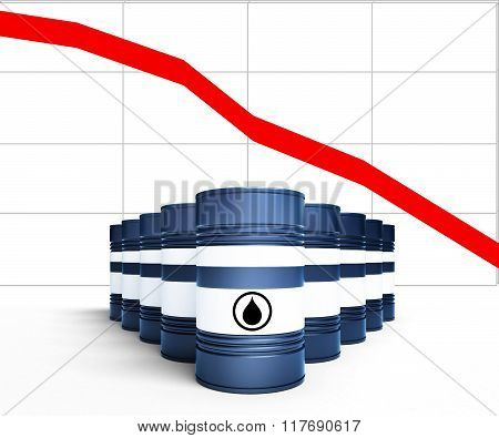Oil Barrel With Decreasing Price Graphic Isolated On White Background