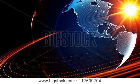Detailed Virtual Planet Earth. Technological Digital Globe World
