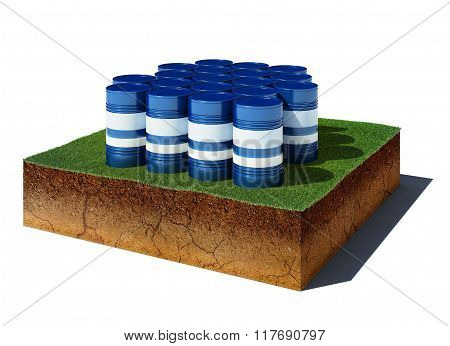 Dirt Cube With Oil Barrels Isolated On White Background
