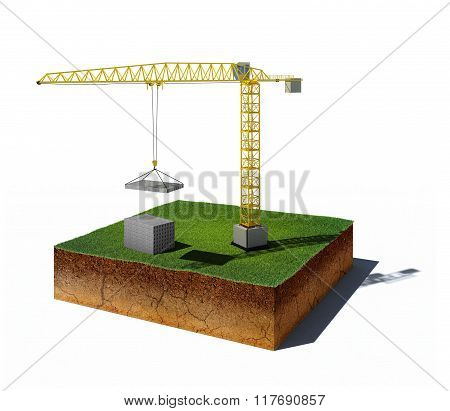Dirt Cube With Crane And Concrete Blocks Isolated On White Background