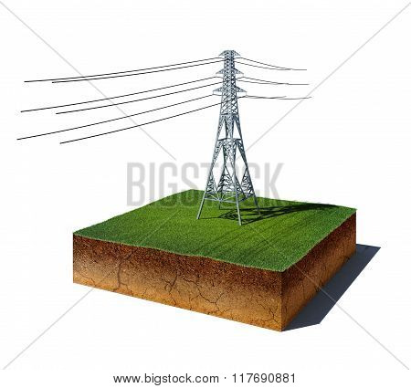 Dirt Cube With Electricity Transmission Pylon Isolated On White Background