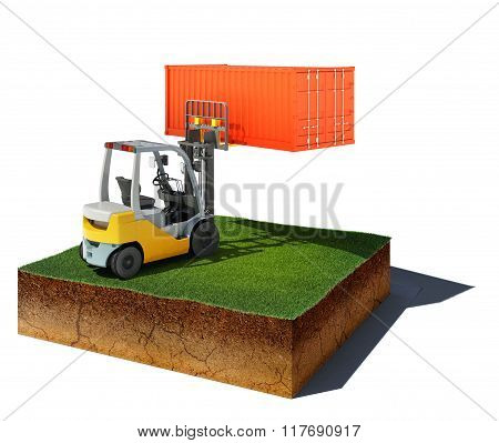 Dirt Cube With Forklift And Container Isolated On White Background