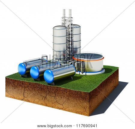 Dirt Cube With Oil Factory And Storage Isolated On White Background