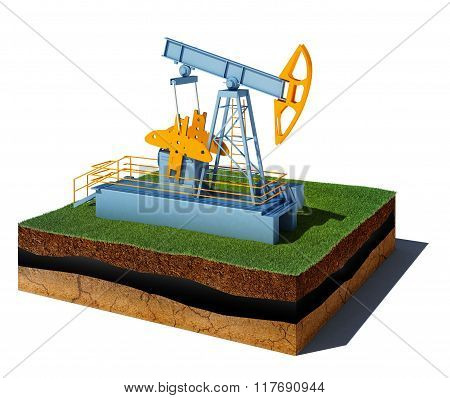 Dirt Cube With Pump Jack Isolated On White Background