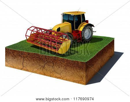 Dirt Cube With Tractor Isolated On White Background