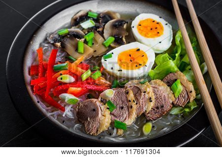 Duck Noodles With Egg And Duck Meat In Bowl