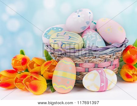 Tulips And Easter Eggs