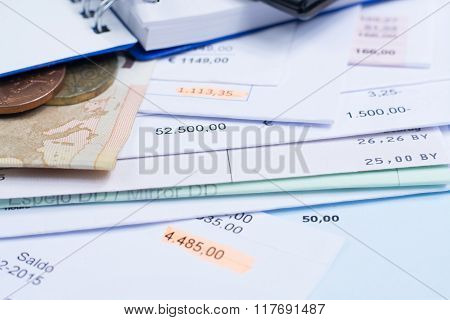 Mortgage And Utility Bills, Coins And Banknote, Calculator