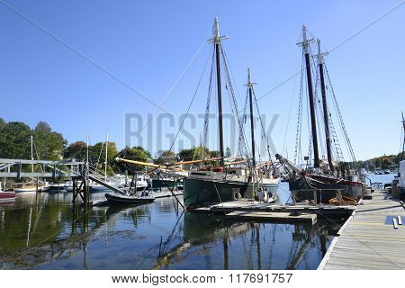 Large Sailboats In The Camden Harbor In Maine