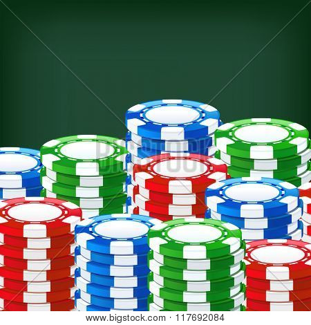 Chips for poker on the table