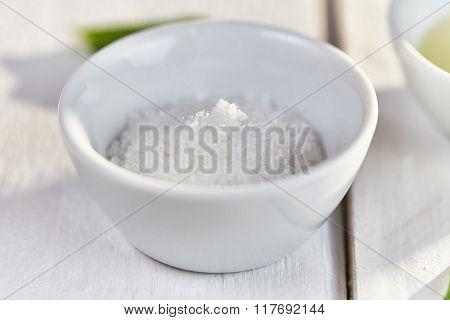 Sea Salt In A White Dish