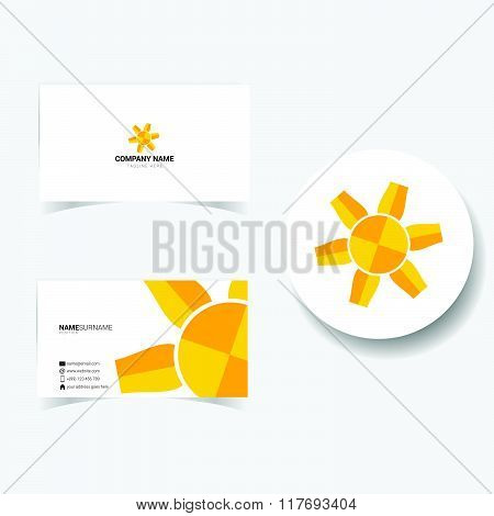Business Card With Illustration Of Sun