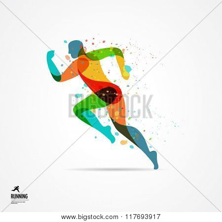 Running man, sport colorful poster, icon with splashes, shapes