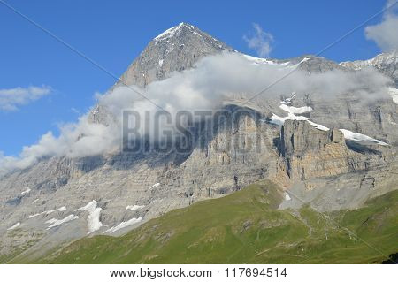 North Face of the Eiger Shrouded in Clouds