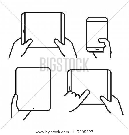 Different variations of holding a modern gadget. Lineart pictograms collection