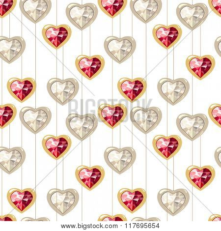 Seamless pattern with stylized diamond hearts.   Endless texture for your design, romantic greeting cards, wedding announcements, fabrics.