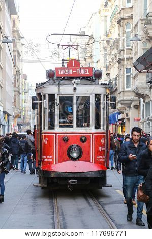 Red Tram On Istiklal Street, Istanbul