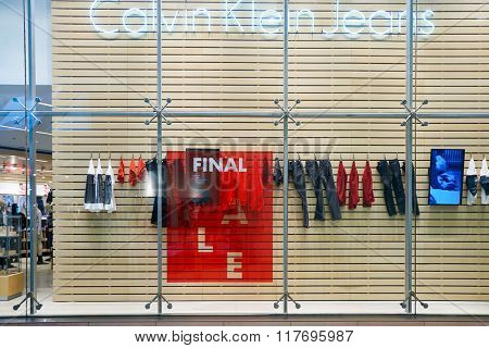 HONG KONG - JANUARY 26, 2016: shopwindow of Calvin Klein store at Elements Shopping Mall. Calvin Klein Inc. is an American fashion house founded by the fashion designer Calvin Klein.