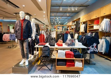 HONG KONG - JANUARY 26, 2016: inside of H&M store. H&M is a Swedish multinational retail-clothing company, known for its fast-fashion clothing for men, women, teenagers and children.
