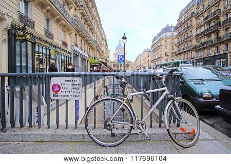 Paris, France, February 6, 2016: bicycle on a parking in Paris, France. In this city bicycle is one of the main vehicles.