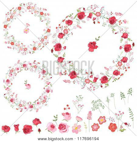 Floral spring elements with cute red and pink roses. Round frames, isolated objects. For romantic and wedding design, announcements, greeting cards, posters, advertisement.