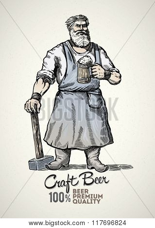 Blacksmith standing with hammer in hand and a mug of beer. Graphical element in style engraving.